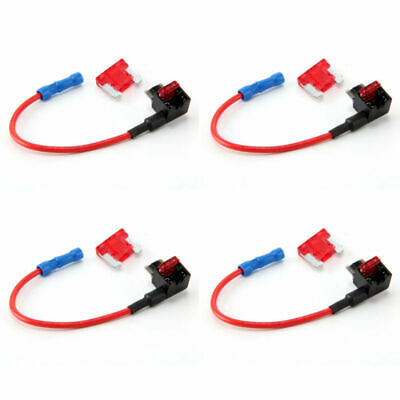 4x Add-a-Circuit Fuse Tap-Micro Auto Mini Blade Piggy Back Fuse Holder 10A