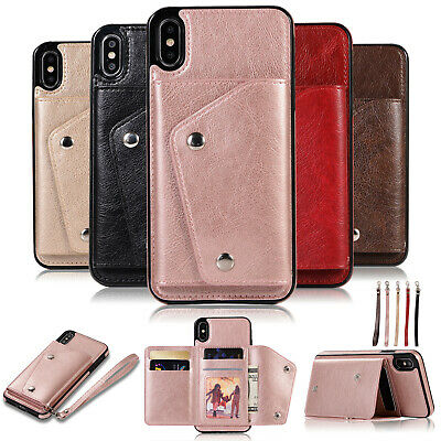 For iPhone 8 7 6 Plus XS Max XR X Magnetic Leather Wallet Flip Card Case Cover