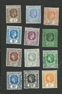 Leeward Islands, George Vi To Qeii. 12 Different Defin Stamps To 1/- Gu/Mh Mix