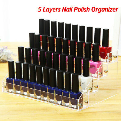 5Tier Clear Acrylic Nail Polish Varnish Cosmetics Display Stand Rack Organiser