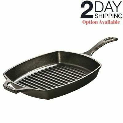 Cast Iron Square Grill Pan Pre Seasoned Steak Bacon Meat Skillet Oven Cookware