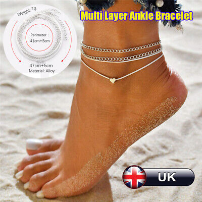 Silver Heart Ankle Bracelet Multiple Layer Womens Anklet Adjustable Chain Beach