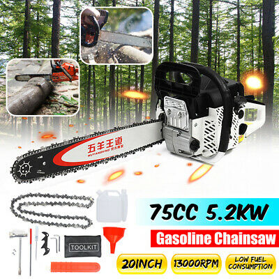 75CC High Powered 5.2KW Gasoline Chainsaw 13000RPM W/ 20'' Guide Board Brake New