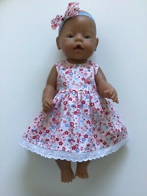 "DOLLS CLOTHES FOR 17"" BABY BORN~CABBAGE PATCH *Pink~Blue Floral~Dress~Headband*"