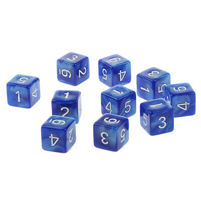 10 pieces Six Sided Dice D6 Playing D&D RPG Game Dices Pearl Blue Color