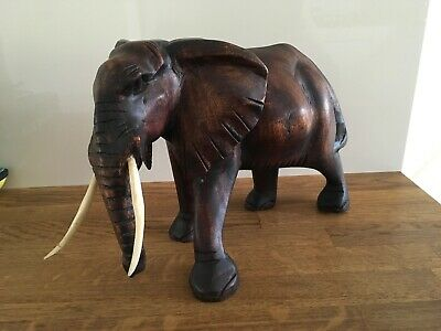 Large Hand Carved Hard Wood Elephant, Great Detail.