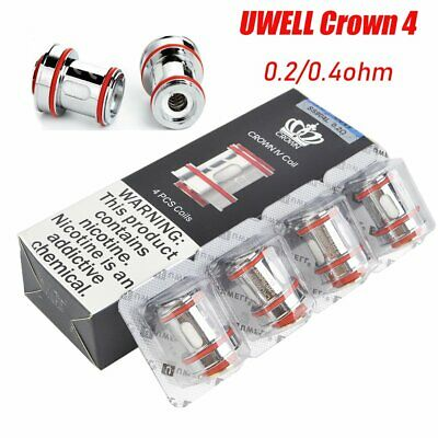 4x Uwell Crown 4 Coil Replacement Crown IV Tank Coils 0.2/0.4ohm Verdampferköpfe