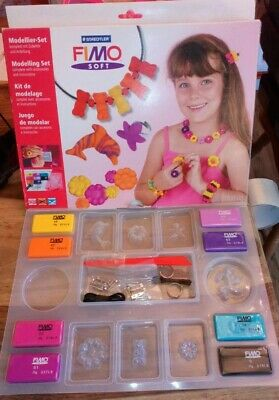Staedtler Fimo Soft Modelling Set Unused Moulds Tool 8 Soft Colours Pins Ring