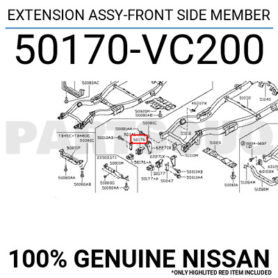 50170VC200 Genuine Nissan EXTENSION ASSY-FRONT SIDE MEMBER 50170-VC200