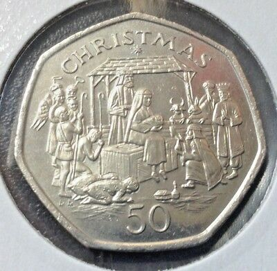 🎄 RARE 1991 A NATIVITY SCENE  Isle of Man Christmas 50p Fifty pence Coin (*a+)