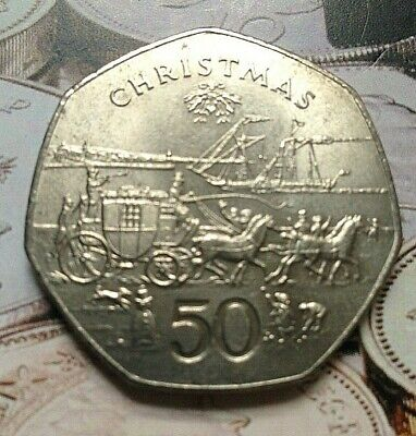 🎄 1980 STAGE COACH Isle of Man Christmas 50p Fifty pence Coin (Mar)🎄