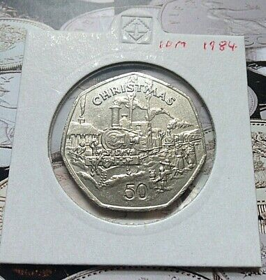 🎄 1984 SUTHERLANDS STEAM TRAIN Isle of Man Christmas 50p Fifty pence Coin🎄 🔴