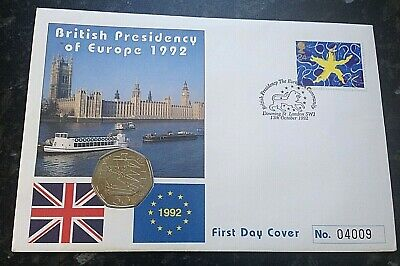 DUAL DATE 1992 - 1993 British Presidency EEC EC Council 50p Cover Coin BUNC