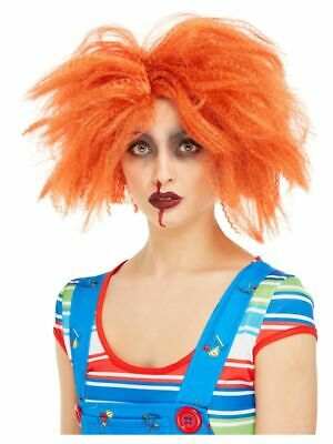 Adults Chucky Wig Halloween Fancy Dress Costume Accessory Orange Crimped Wig