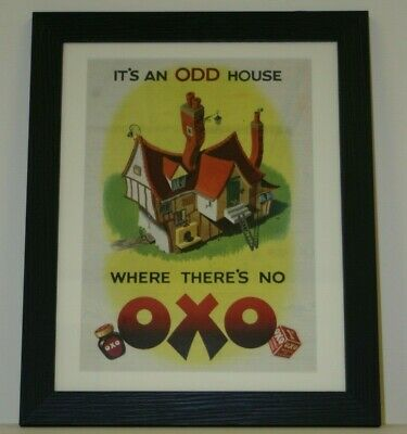 Original 1950's Large Retro Vintage Oxo Framed Ad Promo Artwork