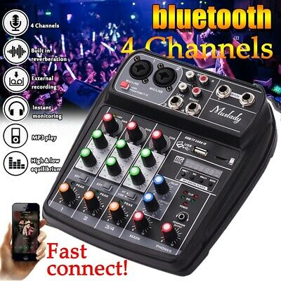 BT 4 Channel USB Audio Mixer Mixing Console Small with Record 48V Phantom Power