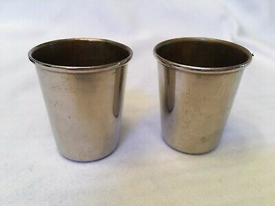 Vintage Shot Glasses Silver With Leather Case