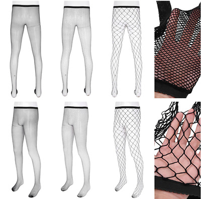 Sexy Men Hollow Out Fishnet See Through Sheer Tight Stretchy Pantyhose Stockings