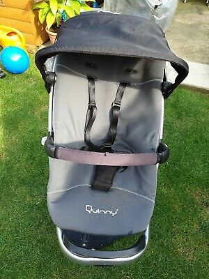 Quinny buzz storm Seat Unit With Newborn Seat And Hood. Black Straps Black, grey