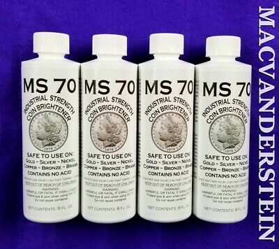4 Bottles Of Ms70 Coin Brightener & Cleaner For Gold,Silver,Copper,Nickel,Bronze