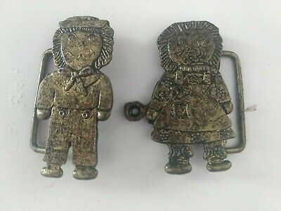 Vintage Raggedy Ann and Andy Belt Buckle Starlight 2970 Crafts Sewing