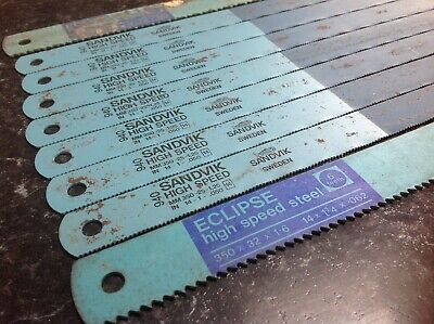 Nine Industrial HSS Power Hacksaw Saw Blades Sandvik and Eclipse New Old Stock