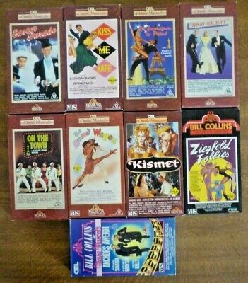CEL Classic Musicals VHS PAL Video Tapes x 9 High Society, Band Wagon...