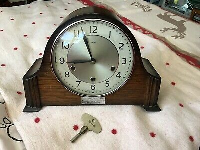 VINTAGE WOODEN MANTEL CLOCK SMITHS 8 Day WESTMINSTER CHIME KEY WINDER
