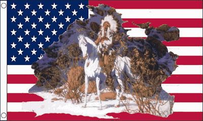 USA NATIVE INDIAN CHIEF FLAG 5ft X 3ft