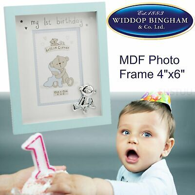 """Button Corner MDF Photo Picture Frame│3D Silverplated Teddy│1st Birthday│4""""x 6"""""""