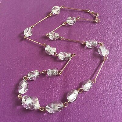 Vintage Art Deco 1930's Clear Spiral Glass Rolled Gold Link Necklace