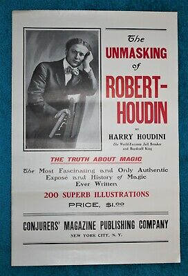 "Original 1908 HARRY HOUDINI Poster ""The Unmasking of Robert-Houdin"" Promo Magic"