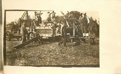 Agriculture Steam driven machinery occupational C-1910 RPPC Photo Postcard 6349