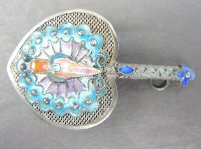 Rare Antique Chinese Filigree Fan With Enamel Peacock Pendant Pin