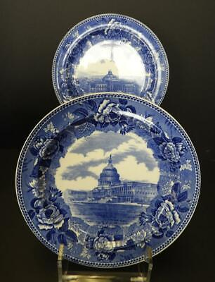 Two Antique Blue & White Wedgwood Plates - The Library of Congress & The Capitol
