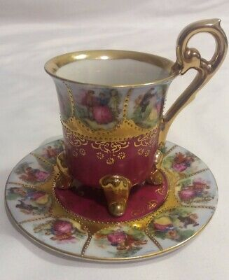 1950's Fragonard Love Story - Hand Painted Demitasse Footed Tea Cup and Saucer