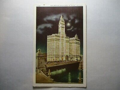 Old Postcard, CHICAGO, ILLINOIS, WRIGLEY BUILDING BY NIGHT, 242