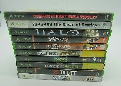 Original XBOX Video Game Games lot of 10 Used Halo NBA NFL TMNT Yu-Gi-Oh