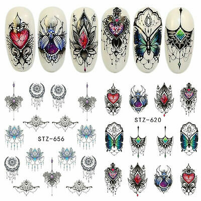 40 Sheets Nail Art Transfer Stickers 3D Various Decal Manicure Decoration Tips U