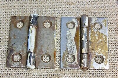 "2 Cabinet old door hinges box 2 x 1 5/8"" rustic vintage Stanley heart antique"