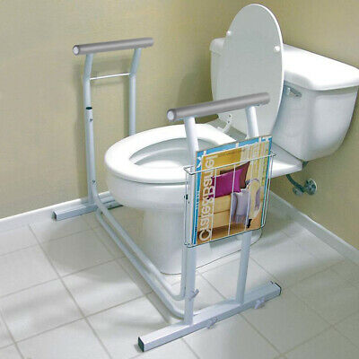 Bathroom Toilet Safety Rail Frame Bar Support w/ Magazine Rack Assist Handrails