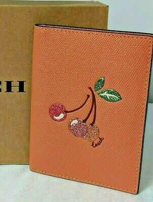 COACH Passport Holder Case With Cherry Design Card Slots Light Coral F68621 New