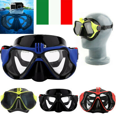 Maschera sub subacquea integrale snorkeling GoPro action cam immersione mare IT