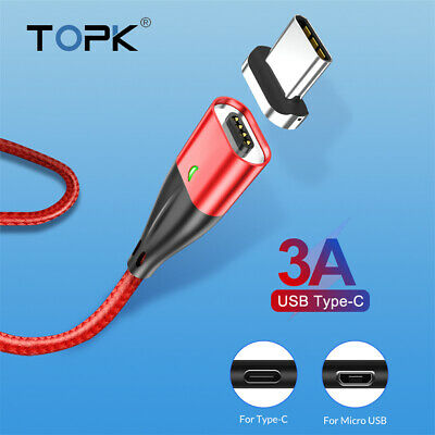 TOPK  Micro USB Type C Magnetic Data Cable Sync 3A Fast Charger Phone Wire 1M 2M