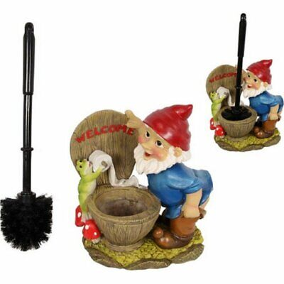 Funny Garden Gnome Toilet Brush Holder Set Gnomes Statue Bathroom Novelty Gift
