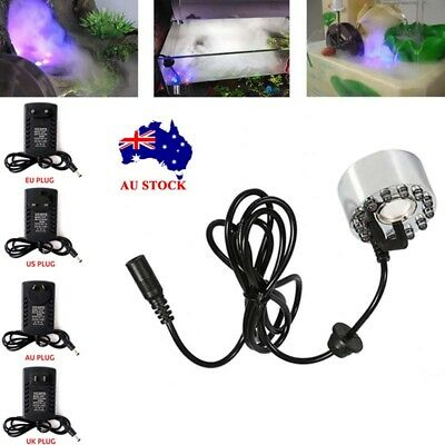 12 LED Ultrasonic Mist Maker Fogger Water Air Humidifier Aquarium Fountain Pond!