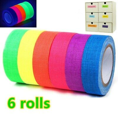 6 Rolls Pocket UV Blacklight Fluorescent Neon Rainbow Gaffer Spike Cloth Tape AU