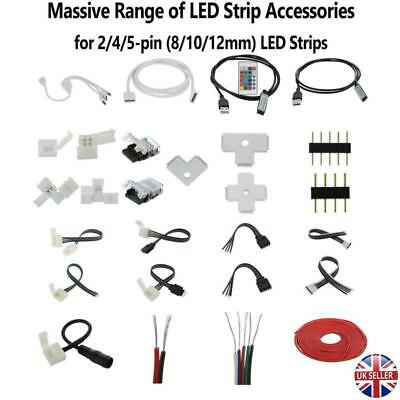 2/4/5Pin LED Strip Hippo Adapter Clip Connector Wire Extension Cable DC 5050 RGB