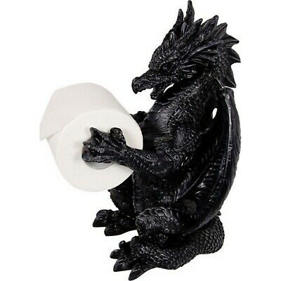 Gothic Dragon Statue Black Toilet Paper Roll Holder Bathroom Decor Free Standing