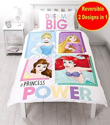 Disney Princess Single Duvet Quilt Cover Set Girls Kid Child White Bedroom Gift
